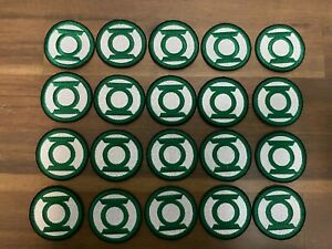 (20x) GREEN LANTERN Iron On Embroidered Patch. 2x2 inch DC LIQUIDATION LOT