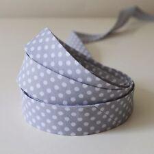 18mm Polka Dot Spotty Cotton Bias Binding Tape 3/4inch 1 2 or 3 Mtrs 3m Grey