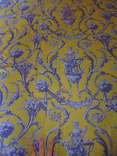 tissu textile coupon ameublement imprimé jaune bleu entrelacs style 18e 59x130cm