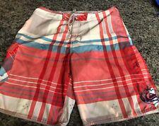 Quicksilver Men's Boardshorts Swim Trunks Plaid Un-Lined Size 35 Waist