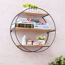 Round Wood Iron Craft Wall Book Shelf Rack Storage Industrial Style Home Decor