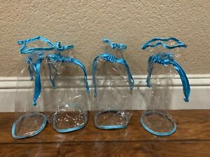 "4 Clear Gift Bag w Satin Blue Ribbon draw stings 4.5"" Diameter Base Vinyl"