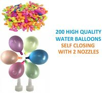 200PC WATER BALLOONS BOMBS SELF CLOSE FUN HIGH QUALITY WITH NOZZLE GARDEN PARTY