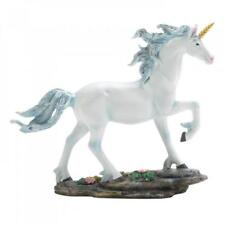 White Unicorn Figurine Blue Pastel Shimmering Mane Magical Fairy