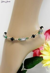 Glass Jewellery Silver Anklet Beads Bali Ethno Boho Hippie Length 27,5 CM #J078