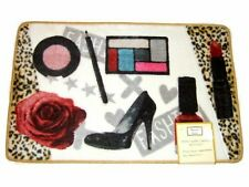 FASHIONISTA DIVA - lips makeup shoes leopard HAND MADE CARVED BATH MAT