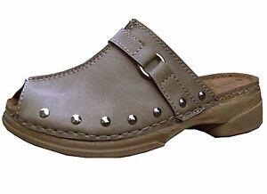 Ladies Peep Toe Clog Mule Work Evening day Shoes Womens Flat Low Heel NEW UK 3