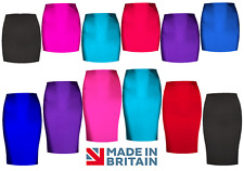 Womens Midi TUBE Skirt Ladies Plain Stretch Bodycon PENCIL two lengths UK Sizes