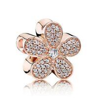 Authentic Bracelet Charm Crystal ROSE Gold Dazzling Daisy Silver Bead Bracelets