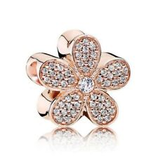 Authentic Bracelet Charm Crystal ROSE Gold Dazzling Daisy Silver Bead Bracelets
