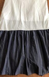 """Ralph Lauren CHAPS Brompton Navy Blue Pinstripe Queen Bedskirt 15"""" Drop"""