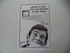 advertising Pubblicità 1968 TV TELEVISORE NAONIS PN 17