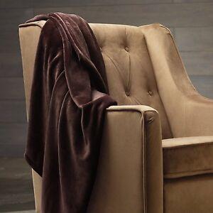 Solid Dark Brown Blanket Bedding Throw Fleece Full Queen Super Soft Warm