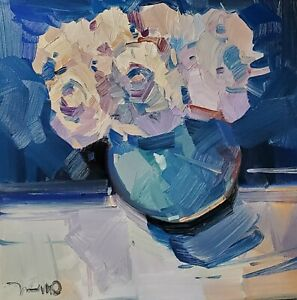 JOSE TRUJILLO Oil Painting IMPRESSIONISM Contemporary COLLECTIBLE Flowers