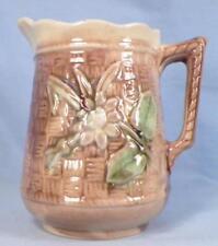 Antique Majolica Creamer Floral & Basketweave Cream Pitcher Yellow Brown Green