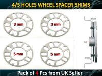2Pcs 5 MM & 2 Pcs 3 MM Universal Car Alloy Wheel Spacers Shims 4 and 5 Studs Fit