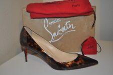 NIB Christian Louboutin DECOLLETE 554 Brown Patent Tartaruga Pump Shoe 70mm 9.5