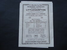 C1930S VINTAGE SOUTHERN RAILWAY CHEAP FARES TO LITTLEHAMPTON MAP & PRICE GUIDE