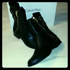 Calvin Klein Black Boot with zipper and buckles
