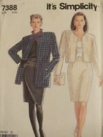 Lovely OOP SIMPLICITY 7388 MS/Wmns Unlined Jacket & Skirt PATTERN 8-20 UC