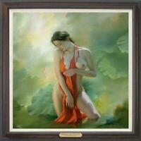 "Hand painted Original Oil Painting art Portrait nude girl pond on Canvas 30""x30"""