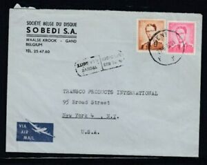 BELGIUM Commercial Cover Gent to New York City 27-6-1962 Cancel