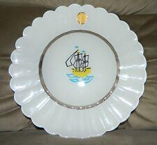 VTG Rare Duralex Art White Milk Glass Sail Clipper Ship Boat Decorative Plate