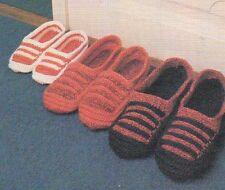 SLIPPERS FOR THE FAMILY MEN'S WOMEN'S DIGEST SIZE CROCHET PATTERN INSTRUCTIONS