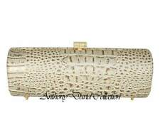 Pearl Ivory Croc Cylinder Clutch Evening Bag