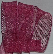 Wired Ribbon~Sheer~Glitz Hot Pink Sparkle Mesh~Holiday Net~Christmas~Wreath~Bow