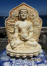 BELOVED VERY DETAILED IVORY-LIKE TIBETAN BUDDHIST MEDICINE BUDDHA STATUE USA