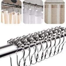 5Pcs Stainless Steel Curtain Rings Rustproof Glide Shower Rod Hooks Set Bathroom