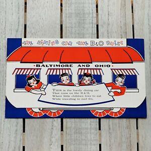 Vtg 50s RETRO B&O BALTIMORE OHIO RAILROAD Dining Car CHILDRENS KIDS Train MENU