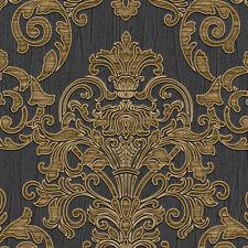 Exclusive Florence Platinum Black Gold Damask Heavy-Weight Vinyl Wallpaper F2207