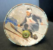 Antique Swiss Toy Music Box Hand Crank Litho Skier