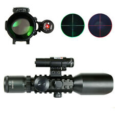 3-10x40 Tactical Rifle Scope Mil-dot Dual illuminated with Red Laser-Rail Mounts