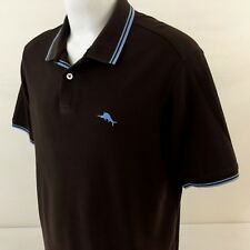Tommy Bahama Polo Shirt Large Brown Blue Trim Marlin Logo Supima Cotton Blend