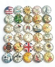 10 CLOCK CABOCHONS 20MM-FLORAL/TIME/VINTAGE GLASS/FLATBACK/JEWELLERY/WATCH-CRAFT