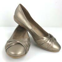 G H Bass Milly Comfort Ballet Flat Shoe Size 7 W Gold Bronze Knot Toe