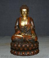 "11,2 ""bouddhisme du Tibet rouge or cuivre statue de Bouddha Sakyamuni Amitabha"