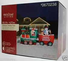 Gemmy Christmas 15.5 ft Lighted Holiday Train Airblown Inflatable NIB