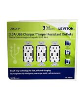 3 Pack 15 Amp Decora Combination Tamper Resistant Duplex Outlet and USB Charger