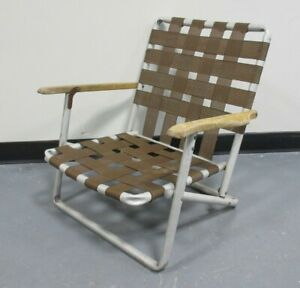 Old Vintage Aluminum Deck Beach Chair Brown Webbing Wooden Arms