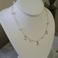 10K Yellow GOLD White Freshwater PEARL Chandelier Necklace