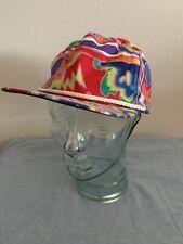 Vintage 90s Abstract Rainbow Art Captain Hat SnapBack Cap Street Style Hipster