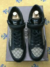Gucci Homme Trainer Sneaker Haut Top Cuir Toile Chaussures UK 7 US 7.5 41 strass