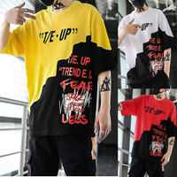 Men's Summer Streetwear Casual Hip-Hop Print letters Loose Tops Pullover T-shirt