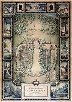 Map Manuscript Plan Mount Vernon The Estate of George Washington Wall Art Poster