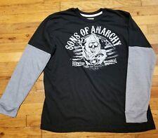 Sons Of Anarchy Soa XL Grim Reaper Logo Black Long Sleeve Shirt Redwood Bullet