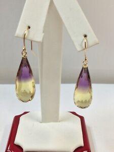 Natural Ametrine Dangle & Drop Earrings Solid 14kt Yellow Gold